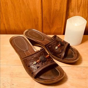 Bass Jillian Leather Bead Flat Slip-on Sandals